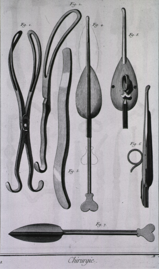 <p>In addition to both straight and curved forceps, there is a lithotome designed by Louis.  The dotted lines show the movement of the sharp cutting blade.</p>