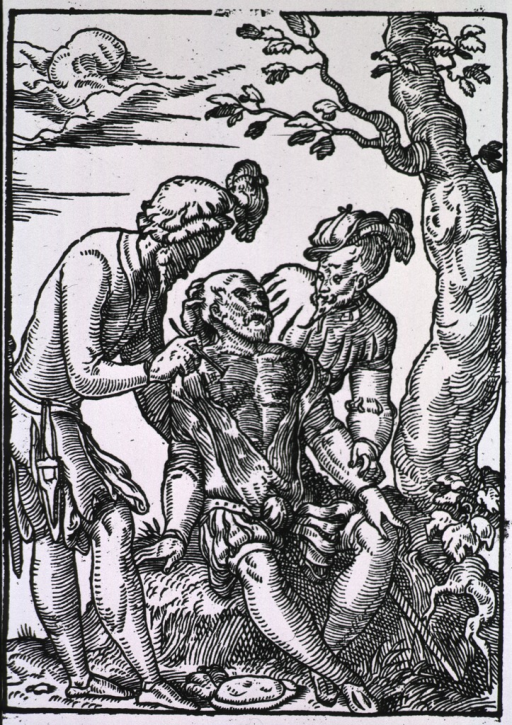 <p>A surgeon is making an incision on a man's chest; the man is sitting under a tree and is being attended to by the surgeon's assistant. This is a common illustration of the surgical procedure for arrow wounds received in battle.</p>