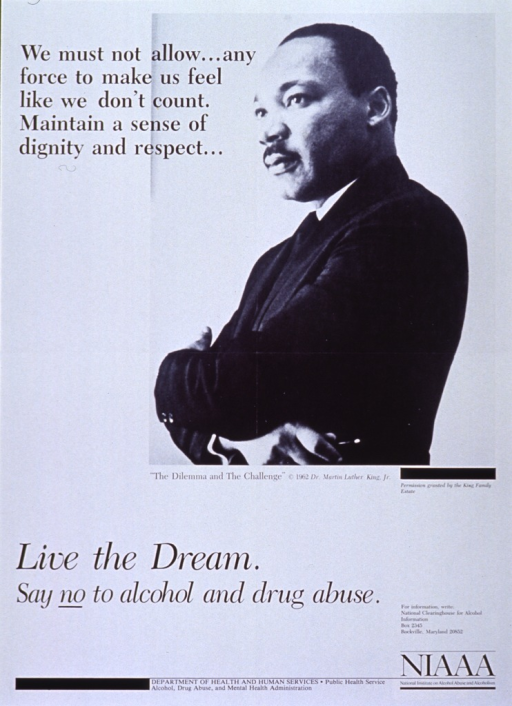 <p>Black and white poster.  Dominant visual image is a reproduction of a b&amp;w photo of Dr. Martin Luther King, Jr. standing with his arms crossed.  The photo is in the upper right corner of poster.  Caption is in upper left corner and comes from King's &quot;The Dilemma and the Challenge,&quot; c1962.  Title and publication information at bottom of poster.</p>