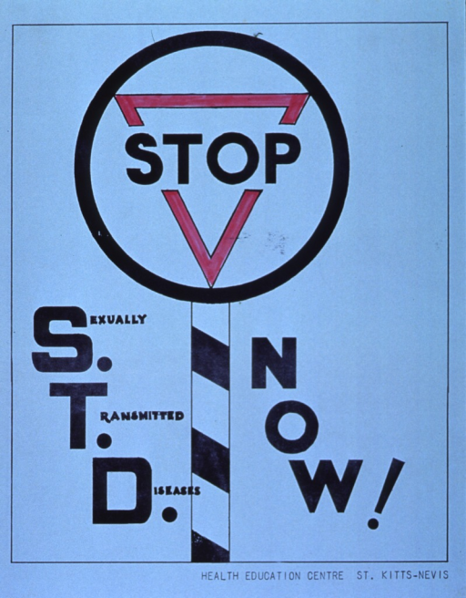 <p>Light blue poster with black lettering.  Title dominates poster.  Initial title word incorporated into visual image, an illustration of a road sign.  Publisher information in lower right corner.</p>