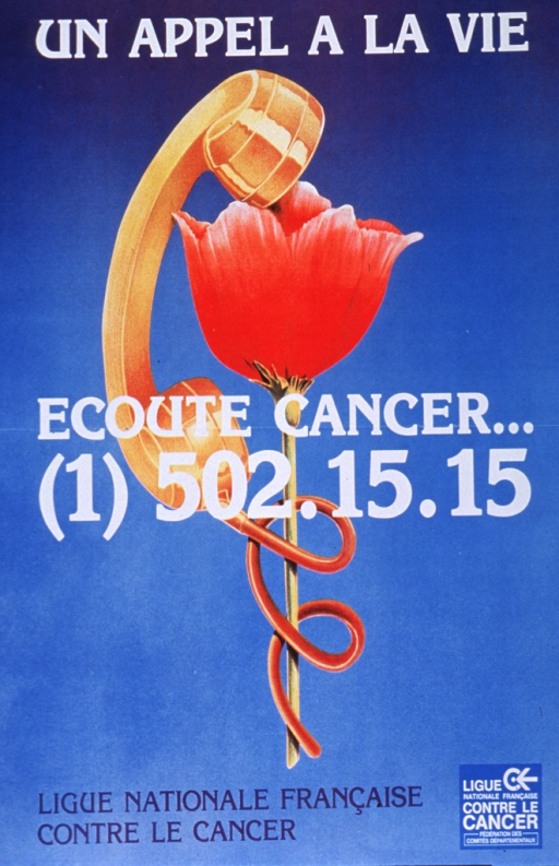<p>Predominantly blue poster with white and blue lettering.  Initial title phrase at top of poster.  Visual image is an illustration of a phone receiver wrapped around a flower.  Remaining title text and phone number superimposed on illustration.  Sponsor information at bottom of poster.</p>