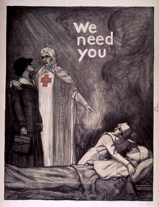 <p>Predominantly black poster with white lettering and red highlights.  Title in upper portion of poster.  Visual image is an illustration of a nurse with her arm around a woman dressed in street clothes.  The nurse points down to a wounded man being tended by another nurse.</p>