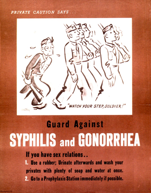 <p>Visual shows a soldier, dragging his rifle, and lagging behind the other marching troops. The remainder of the poster provides steps to take for proper hygiene and precautions to be taken after engaging in sexual relations.</p>