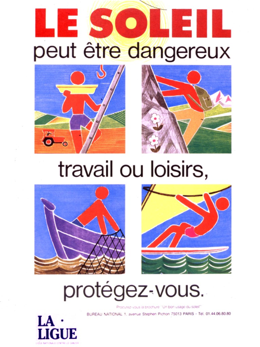<p>There are four pictures of figures in action.  The first is climbing a ladder, with a tractor and field behind him, while the opposite picture shows the figure climbing a mountain, wearing a backpack.  Below them the set shows a figure casting a net for fish from a boat, and its opposite shows a figure windsurfing.</p>