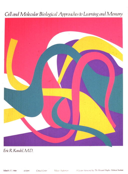 <p>An abstract drawing with dark pink, green, purple, and orange swirling lines comprises most of the poster.  The date (Mar. 17, 1986), time, and location of the lecture are also given.</p>