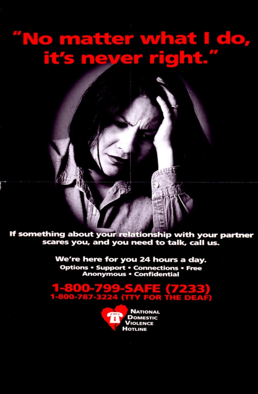 <p>Predominantly black poster with red and white lettering.  Title at top of poster.  Visual image is a reproduction of a b&amp;w photo of a woman.  The woman appears distressed and rests her head on her hand, as if in thought.  Caption below photo.  Hotline number and publisher information at bottom of poster.</p>