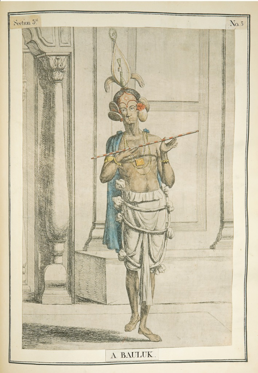 <p>Colored etching of barefoot Bengali dancing boy with painted face dressed as Krishna. Inscription below figure reads &quot;a Bauluk&quot;. Boy's costume includes bird headdress, blue cape, necklace, and exotic ear decorations. He holds a wand. Representative image of a dancer at feast of Jhulan Yatra. From Solvyns's Collection of two hundred and fifty coloured etchings, sec. 3, pl. 5.</p>