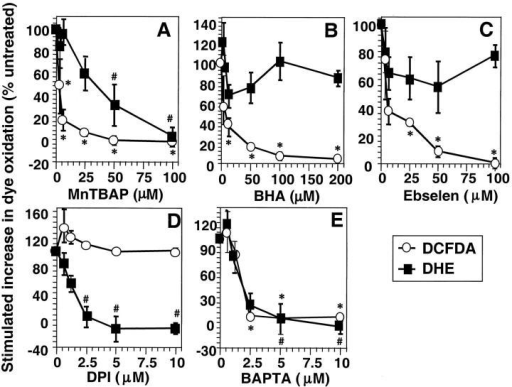 Effect of ROS scavengers and chemical inhibitors of ROS. Anti-CD3–induced ROS generation was determined as described in Materials and Methods. DCFDA oxidation (○) was determined after 15 min and DHE oxidation (▪) after 60 min stimulation with anti-CD3 in the presence or absence of titrated concentrations of (A) MnTBaP, (B) ebselen, (C) BHA, (D) diphenylene iodonium (DPI), or (E) BAPTA-AM. The data are normalized to anti-CD3–induced DCFDA/DHE oxidation in the absence of drug and are expressed as percentage change in anti-CD3–stimulated fluorescence compared with cells exposed to drug alone. The data represent the average of at least three experiments (± SEM). *Anti-CD3–stimulated DCFDA oxidation is significantly different from that in the absence of drug (P < 0.05). #Anti-CD3–stimulated DHE oxidation is significantly different from that in the absence of drug (P < 0.05).