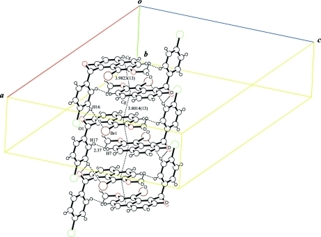 The arrangement of the molecules in the crystal structure, viewed in an oblique direction. van der Waals interactions and π– π interactions are shown as dashed lines.