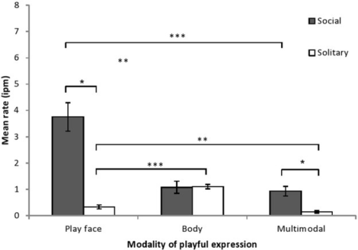 Mean rate (intervals per minute of play, with SE) of chimpanzee infants' playful expressions, as a function of modality of expression and type of play. The modality × play type interaction was examined by comparing playful expression rates for each modality across social and solitary play contexts (paired t-tests) and by comparing the playful expression rates for each modality within each play context (One-Way ANOVA with simple contrasts). *p < 0.05, **p < 0.01, ***p < 0.001.