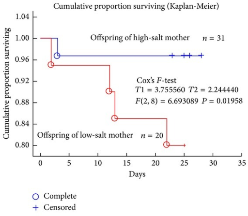 Cumulative proportion of offspring survival (Kaplan-Meier analysis). Survival prognosis was evaluated from their birth of the rat pups to weaning. Blue circles refer to the death (complete) of pups from high-salt intake mothers; red circles refer to the death (complete) of pups from a low-salt intake mothers. Plus (+), censor. The difference was analyzed by Cox's F-test (T1 = 3.755, T2 = 2.244, F(2, 8) = 6.6930, and P = 0.01958).