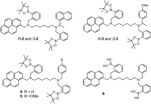 The aryl diboronic acid sensors, 2–6, synthesized and tested by James and co-workers [37].
