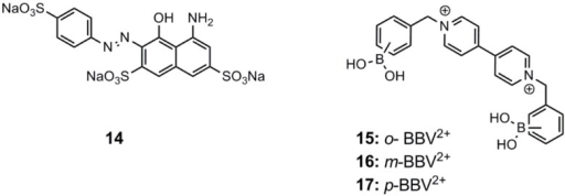 Singaram's viologen arylboronic acids, 15–17, employed by Feng and co-workers, using azo compound 14 as the fluorescent dye [52].