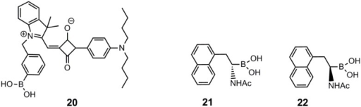 The near-infrared squarylium cyanine boronic acid dye, 20, reported by Saito and co-workers [58], and the two enantiomeric α-amidoboronic acids, 21 and 22, reported by Wang and co-workers [59].
