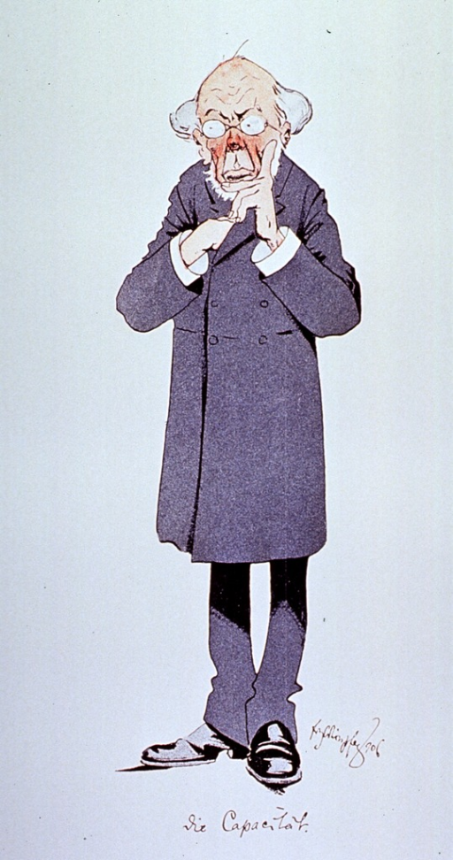 <p>Caricature: full length view of a physician, right hand inside coat, wearing glasses.</p>