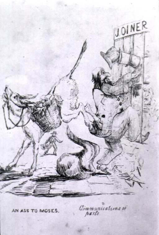 <p>A donkey kicks a man's posterior as the man, tops hats falling from his head, climbs through a window. Above the window is a sign: Joiner.</p>