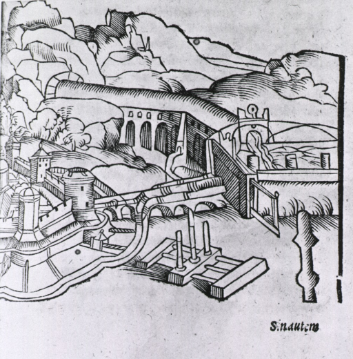 <p>Exterior view: an elaborate system of aqueducts for conveying water into a walled city on the left.</p>