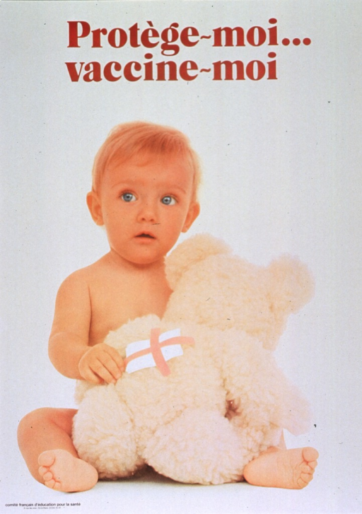 <p>Yellow poster with brown lettering.  Title at top of poster.  Visual image is a reproduction of a color photo of a baby, facing forward, holding a teddy bear.  There is a bandage on the teddy bear's back.  Publisher information in lower left corner.</p>