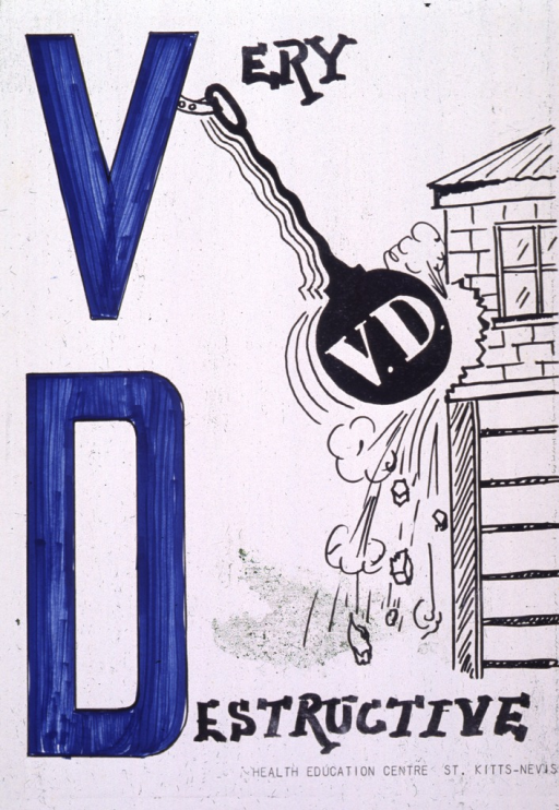 <p>White poster with blue and black lettering.  Title dominates left side of poster.  Right side of poster features an illustration of a house being hit by a wrecking ball.  The ball, labeled &quot;V.D.&quot; swings from a hook on the initial title &quot;V.&quot;  Portions of poster appear hand colored.  Publisher information in lower right corner.</p>