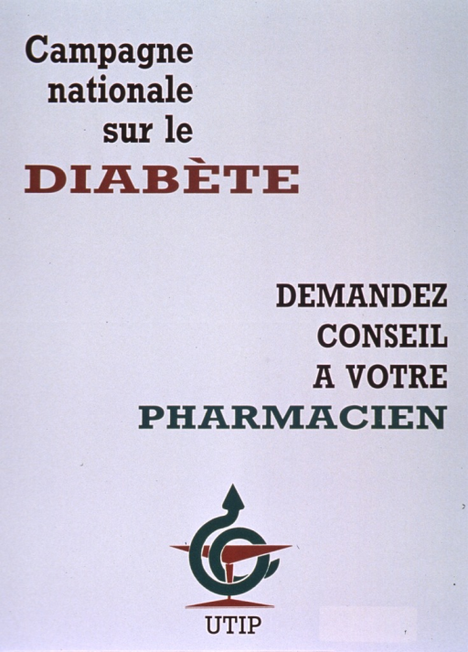 <p>White poster with black, brown, and green lettering.  Initial title phrase in upper left corner.  Remaining title text on right side of poster near the center.  Visual image is the UTIP logo, an illustration of a serpent wound around a cup.</p>