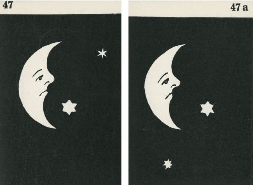 <p>A pair of strabismus diagnostic and exercise cards in black and white.  The card to the left, 47, has the image of a cresent moon with a sad face and one large star in front of it and a smaller star above to the right; the card to the right, 47a, shows image of a cresent moon with a sad face and one large star in front of it and another smaller star under it.  Stereoskopische Bilder fur schielende Kinder.</p>