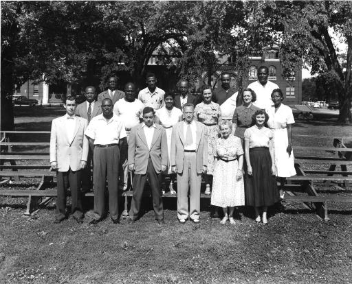 <p>Armed Forces Medical Library Administrative Division. First Row: Mr. O'Neill, Mr. Broadway, Mr. McGroarty, Mr. Hall, Mrs. Mudd, Mrs. Chiesi. Second Row: Mr. Williams, Mr. Carr, Mrs. Jenifer, Mrs. Reese, Mrs. Smith, Mrs. Dean. Third Row: Mr. Clanton, Mr. Scott, Mr. Smith, Mr. Campbell.</p>