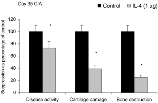 Effects in mice of treatment with interleukin-4 or control on				disease activity, cartilage damage and bone destruction. Mice were treated				intraperitoneally for 7 days with either vehicle (control) or 1 μg/day				interleukin-4 (IL-4). CIA, collagen-induced arthritis. *P				<  0.05, versus control, by Mann-Whitney U test.
