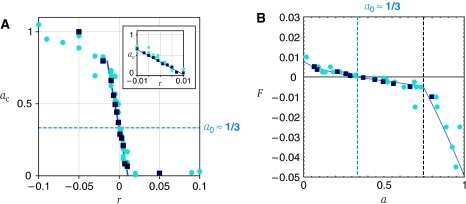 Gradient sensitivity and the feedback transfer function F(a). (A) By measuring exponential ramp responses in the manner of Figure 2A–H over a range of ramp rates r, we constructed a gradient-sensitivity curve, relating the kinase-activity a, to the steepness of the temporal gradient experienced by cells. The results for two FRET strains considered wild type for chemotaxis (VS104, an RP437 derivative, cyan circles; TSS178, an AW405 derivative, dark blue squares) were essentially identical, and collapsed on to a sigmoidal curve with a steep region near r=0 (slope of fitted line, Δa/Δr≈−30 s). The steady-state activity in the absence of stimuli (i.e. at r=0) was found to be a0≈1/3. The inset in (A) is an expanded view about the point (r=0, a=a0), showing the absence of thresholds, at least down to r=±0.001 s−1. (B) Using our model, the data of (A) can be used to map the feedback transfer function F(a). The steady-state relation r=αF(ac) implies that we can rescale the r axis by the constant factor α, obtained from our calibration of the receptor-module transfer function G, and invert the axes about (r=0, a=a0) to obtain F(a). The shallow slope near this origin, F ′(a0)≈−0.01, implies weak negative feedback. The blue curve is a fit of a Michaelis–Menten reaction scheme ; see text for interpretation of parameters. Source data is available for this figure at www.nature.com/msb.
