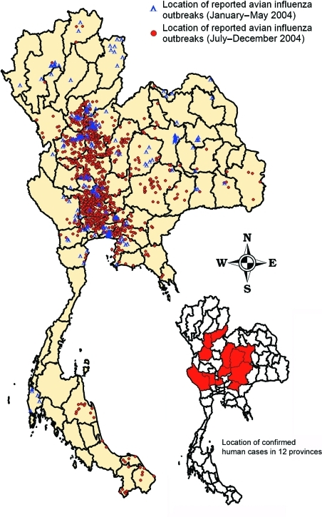 Distribution of reported highly pathogenic avian influenza H5N1 outbreaks in villages in Thailand, January–May 2004 (188 villages of 193 flocks) and July–December 2004 (1,243 villages of 1,492 flocks).