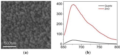 (a) A SEM image of ZnO; (b) Spectra of Cy5/PVA deposited on Quartz glass (black) and ZnO film (red), the Cy5 concentration for spin coating is around 0.1 μM. (a) (b)