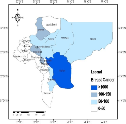 Spatial distribution of breast cancer in the province of Isfahan, Iran (Values are expressed as number of persons.)