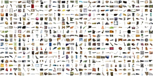 Sample object segments from popular object categories in the SUN database.