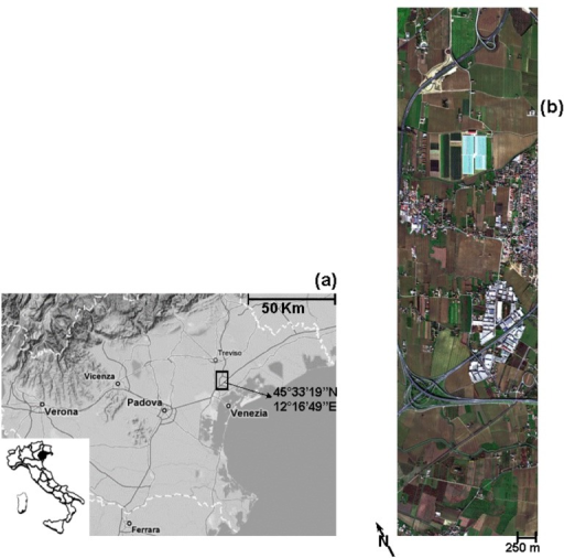 (a) MIVIS scene, outlined in black over a regional map; (b) MIVIS imagery acquired over Venice study area (755 columns × 2956 lines).