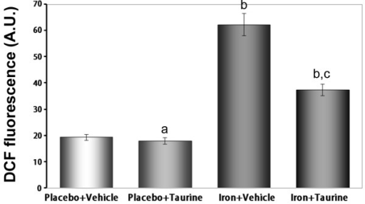 Effects of taurine on hepatic intercellular reactive oxygen species generation in mice injected with iron over a 13-week period. Data are presented as the mean ± standard error of the mean (n=12). aP>0.05 vs. the placebo + vehicle group; bP<0.01 vs. the placebo + vehicle and placebo + taurine groups and cP<0.01 vs. the iron + vehicle group. DCF, dichloro-dihydro-fluorescein.