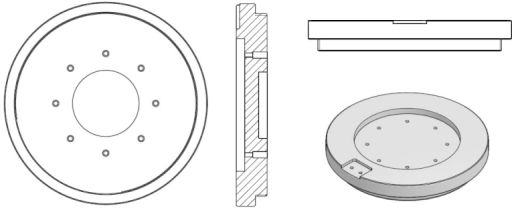 It consists of Teflon disc with concentrically positioned 8 glassy carbon discs (with diameter of 2 mm) as working electrodes. From the bottom side each electrode was electrically contacted with a golden pin and a wire (Fig. 5; also one wire was added for grounding all of the cables). In the middle of a Teflon disc a circular hole was drilled for the magnetic stirring stick. Counter electrode (platinum wire) is placed concentrically around working electrodes near the edge of the bottom part (see first image in Fig. 5).