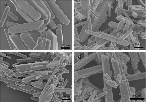 SEM images of pure BiPO4 (a), BB-1 (b), BB-2 (c) and BB-3 (d)