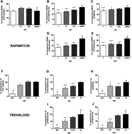 Model validation: autophagy inducers reduce TAU hyperphosphorylation and aggregation in TAU-P301L neurons.(A) CellTiter-Glo® data showing that rapamycin is not toxic (P = NS). (B, C) Rapamycin dose-dependently reduces hTAU10 (P<0,001; B) and AT8 aggregated TAU measured with AlphaLISA (P = 0,025 at 10 nM and P<0.001 at 1 μM; C) and compared to DMSO. (D, E) Also general TAU phosphorylation is reduced (AT8/hTAU10; P<0,001; D) to a similar extent as the reduction in total TAU (HT7/hTAU10; P<0,001; E). (F) CellTiter-Glo® results show that trehalose is highly toxic at 250 mM (P<0,001). (G, H) AlphaLISA results reveal that trehalose significantly reduces hTAU10 (P<0,001) and AT8 TAU aggregation levels versus control (P = 0,006 at 31,5 mM and P = 0,014 at 125 mM). (I, J) Only at 125 mM of trehalose, both phosphorylated TAU (P<0,001, I) and total TAU levels (P<0,001, J) are decreased. ***P<0,001; **P<0,01; *P<0,05; #P<0,001 due to toxicity; 1-way ANOVA with Dunnett's post hoc; n≥3 independent experiments