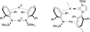 Low‐coordinate Ni and Fe complexes showing interaction of potassium with π‐system as reported by Tilley.14
