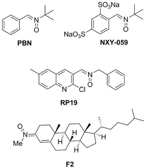 Structures of nitrones N-t-butylphenylnitrone (PBN), NXY-059, and the nitrones RP19 and F2, assesed in our laboratories.