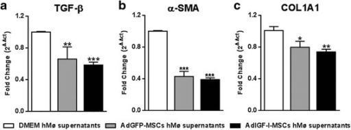 Antifibrotic effects of hepatic macrophages after MSCs treatment. Quantitative analyses of TGF-β1 (d), α-SMA (b), and COL1A2 (c) mRNA expression in hepatic stellate cells after 18 hours incubation with supernatants of hMø after in vitro treatments with DMEM (white bars), AdGFP-MSCs (gray) or AdIGF-I-MSCs (black) conditional medium. ANOVA Tukey's post-test, *p < 0.05; **p < 0.01, ***p < 0.001; * vs. DMEM hMø supernatants