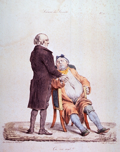 <p>Caricature:  An overweight man sitting in a chair is having his pulse taken by a physician standing to his right.</p>