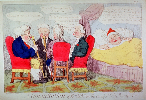 <p>A group of four physicians sit in consultation, two with walking sticks to their noses, while the patient looks on from his bed.</p>