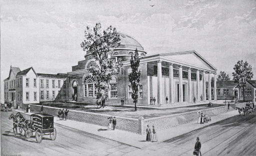 <p>Exterior view: corner view drawing of the medical school; people are on the sidewalks and on the walkway around the school; there are three horse drawn carriages, one of which is the University of Maryland ambulance.</p>