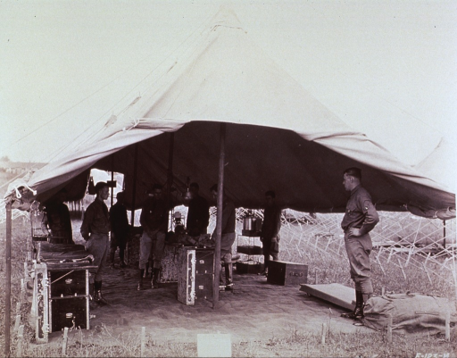 <p>Interior view of a surgical tent.</p>