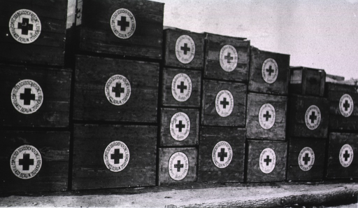 <p>A view of packing boxes at a German Red Cross Hospital.</p>