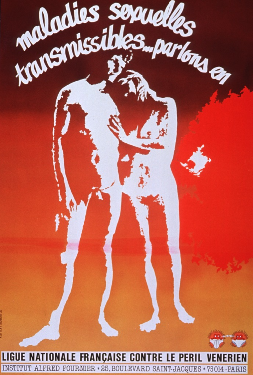 <p>Multicolor poster with white and black lettering.  Title at top of poster.  Visual image is a slightly abstract negative print of a naked man and woman standing together.  Logo in lower right corner.  Publisher information at bottom of poster.</p>