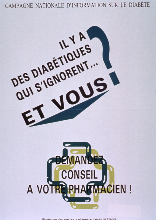 <p>Predominantly white poster with black lettering.  Note at top of poster.  Title below note, offset by a green triangle.  Caption near bottom of poster.  Caption superimposed on two green cross outlines.  Publisher information at bottom of poster.</p>