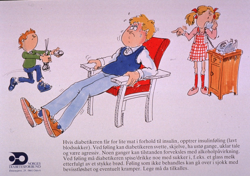 <p>Predominantly white poster with black and blue lettering.  Visual image is a color illustration of a man sitting in a chair, sweating and looking ill.  A boy runs toward him with some food and a girl is on the telephone and pointing at the man.  Title and additional text below illustration deal with the problems diabetics encounter when they do not have a proper balance between food intake and insulin.  Symptoms associated with low blood sugar and steps for first aid are described.  Publisher information in lower left corner.</p>
