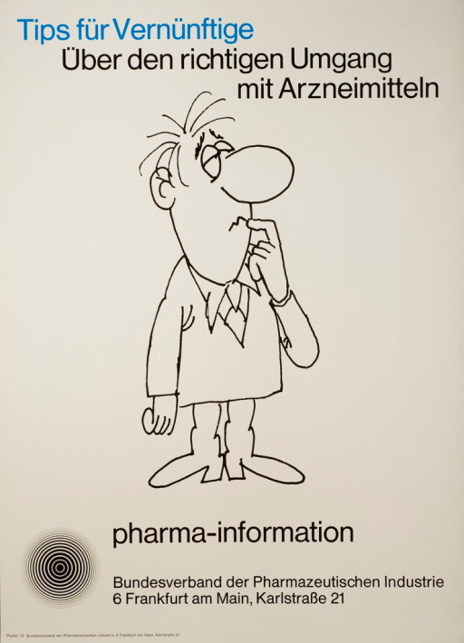 <p>Gray poster with blue and gray lettering, illustrated with a drawn caricature of a man standing with one finger raised to his mouth to suggest contemplation.</p>