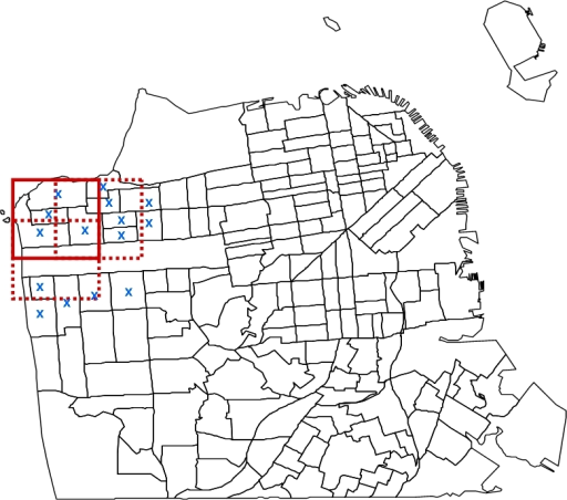An illustration of partitioning the map of San Francisco using the overlapping square grid approach.Three overlapping squares, representing three spatial scanning windows in the detection method, are overlaid upon the northwest quadrant of San Francisco. The map is partitioned by census tracts. A single square size and only a few census tract centroids (blue 'x' symbols) are represented in this example for illustrative purposes.